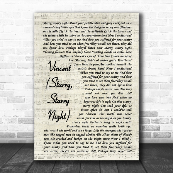 Don McLean Vincent (Starry, Starry Night) Vintage Script Song Lyric Music Wall Art Print