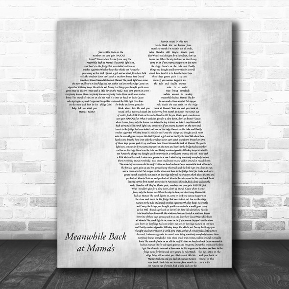 Tim McGraw Meanwhile Back at Mama's Mother & Child Grey Decorative Gift Song Lyric Print