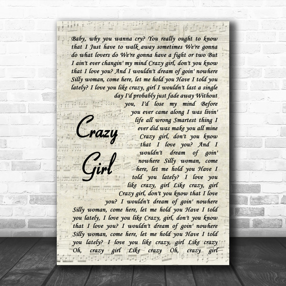 Eli Young Band Crazy Girl Song Lyric Vintage Script Music Wall Art Print