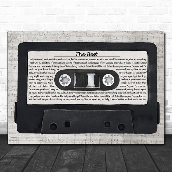 Tina Turner The Best Music Script Cassette Tape Decorative Wall Art Gift Song Lyric Print