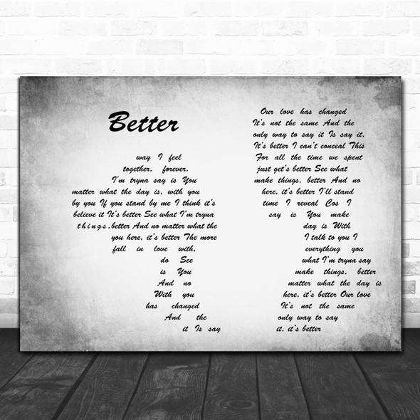Tom Baxter Better Man Lady Couple Grey Decorative Wall Art Gift Song Lyric Print