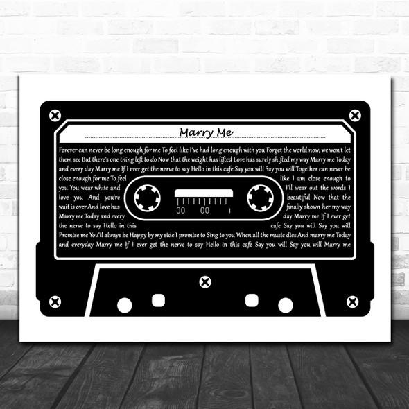 Train Marry Me Black & White Music Cassette Tape Decorative Gift Song Lyric Print