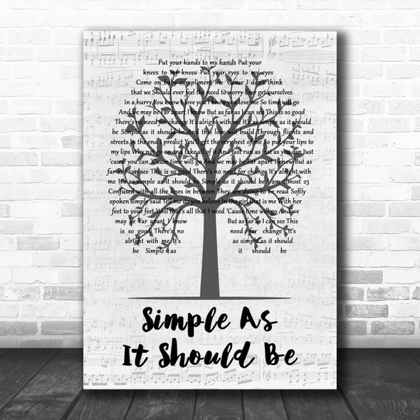 Tristan Prettyman Simple As It Should Be Music Script Tree Decorative Gift Song Lyric Print