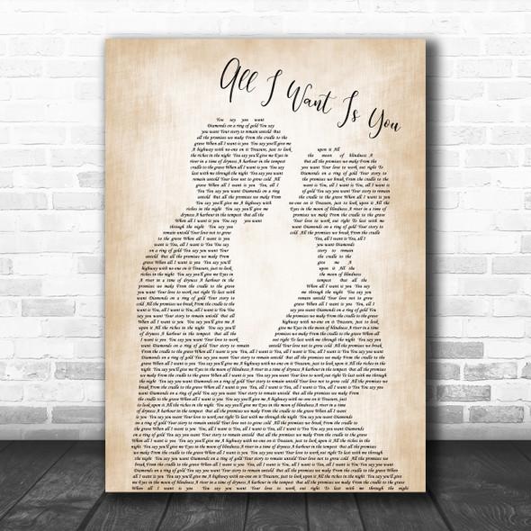 U2 All i want is you Man Lady Bride Groom Wedding Decorative Gift Song Lyric Print
