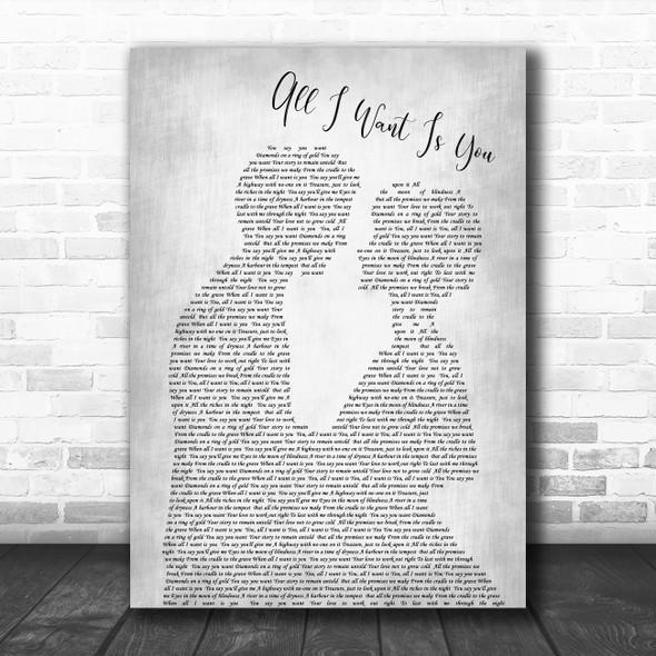 U2 All i want is you Man Lady Bride Groom Wedding Grey Decorative Wall Art Gift Song Lyric Print