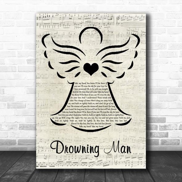 U2 Drowning Man Music Script Angel Decorative Wall Art Gift Song Lyric Print