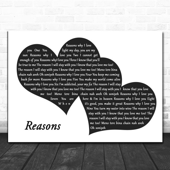 UB40 Reasons Landscape Black & White Two Hearts Decorative Gift Song Lyric Print