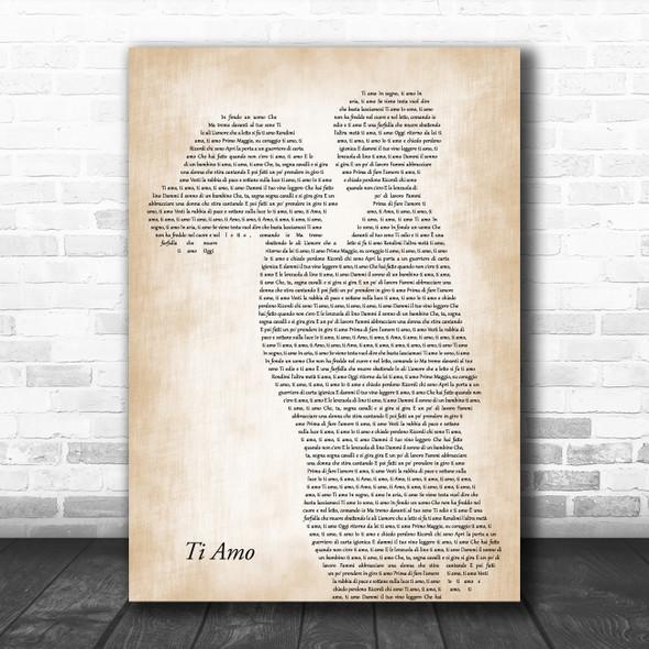 Umberto Tozzi Ti Amo Mother & Child Decorative Wall Art Gift Song Lyric Print