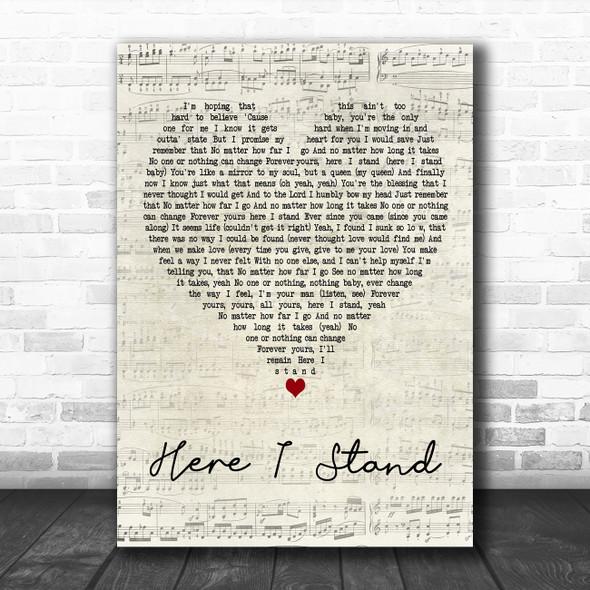 Usher Here I Stand Script Heart Decorative Wall Art Gift Song Lyric Print