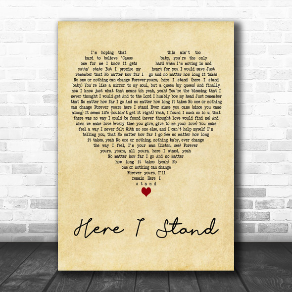 Usher Here I Stand Vintage Heart Decorative Wall Art Gift Song Lyric Print