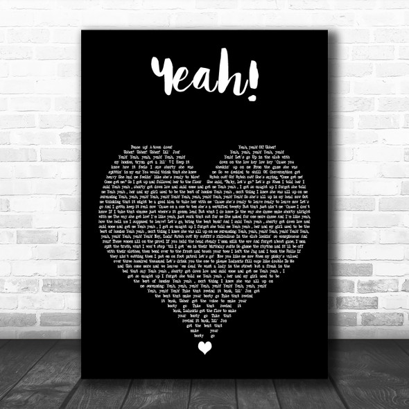 Usher Yeah! Black Heart Decorative Wall Art Gift Song Lyric Print