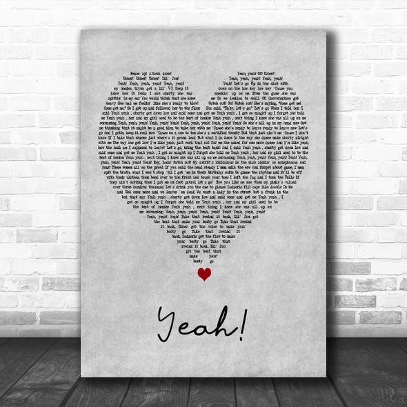 Usher Yeah! Grey Heart Decorative Wall Art Gift Song Lyric Print