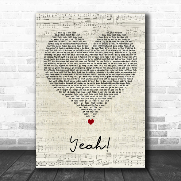 Usher Yeah! Script Heart Decorative Wall Art Gift Song Lyric Print