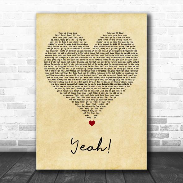 Usher Yeah! Vintage Heart Decorative Wall Art Gift Song Lyric Print