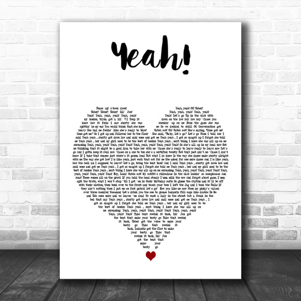 Usher Yeah! White Heart Decorative Wall Art Gift Song Lyric Print