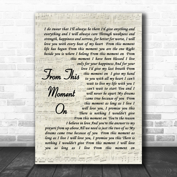 From This Moment On Shania Twain Song Lyric Vintage Script Music Wall Art Print