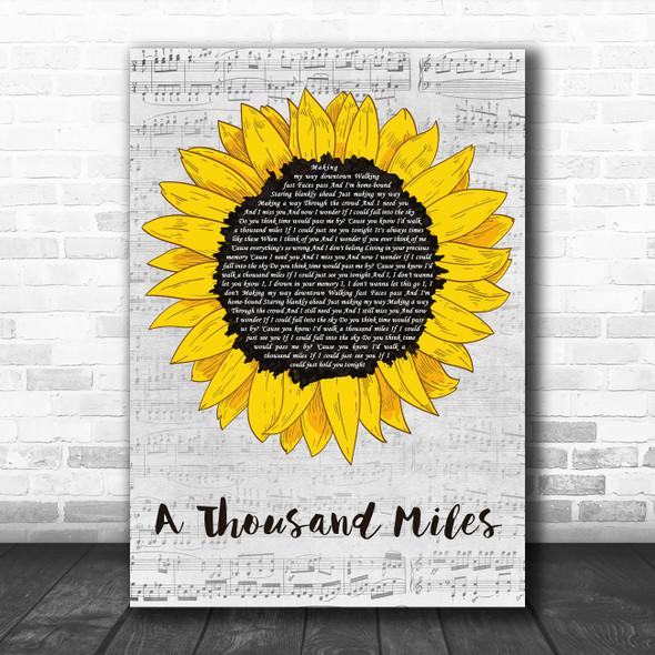 Vanessa Carlton A Thousand Miles Grey Script Sunflower Decorative Wall Art Gift Song Lyric Print
