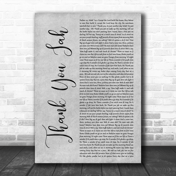 Vybz Kartel Thank You Jah (On And On) Grey Rustic Script Decorative Gift Song Lyric Print