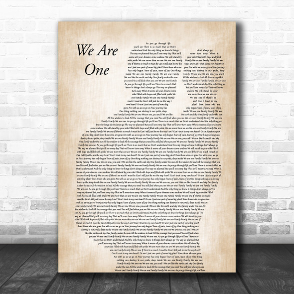 Walt Disney Records We Are One Father & Baby Decorative Wall Art Gift Song Lyric Print