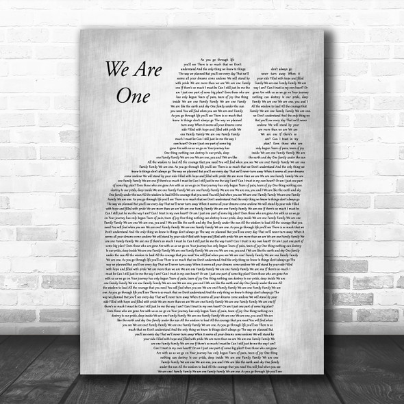 Walt Disney Records We Are One Father & Baby Grey Decorative Wall Art Gift Song Lyric Print