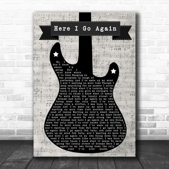 Whitesnake Here I Go Again Electric Guitar Music Script Decorative Gift Song Lyric Print