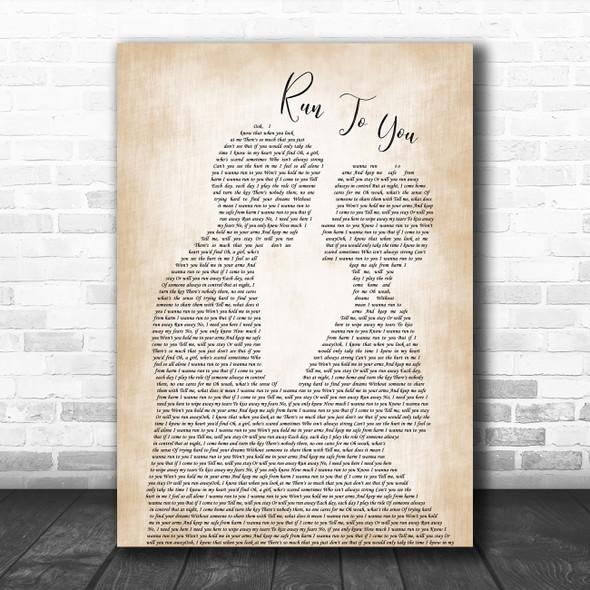 Whitney Houston Run To You Man Lady Bride Groom Wedding Decorative Gift Song Lyric Print