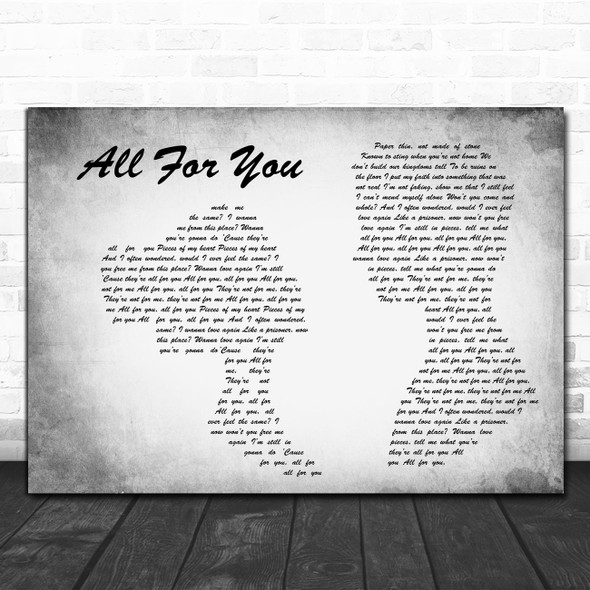 Wilkinson Featuring Karen Harding All For You Man Lady Couple Grey Wall Art Gift Song Lyric Print