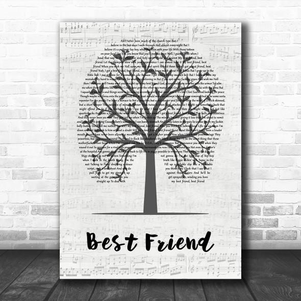Yelawolf Best Friend Music Script Tree Decorative Wall Art Gift Song Lyric Print