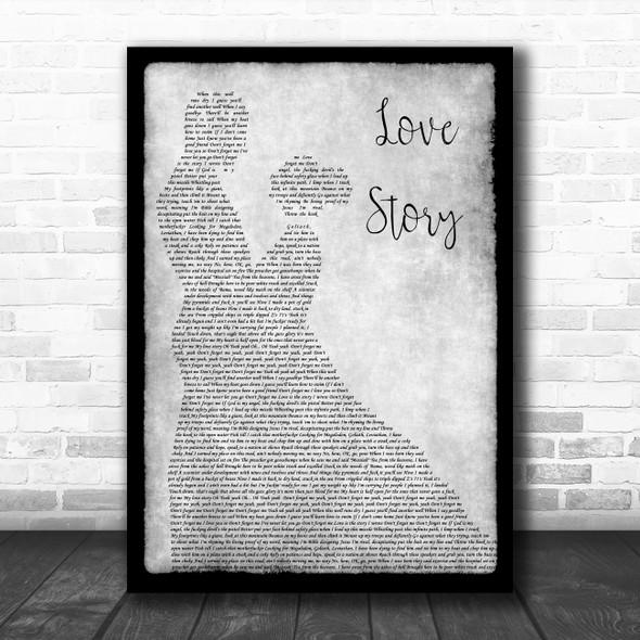 Yelawolf Love Story Grey Man Lady Dancing Decorative Wall Art Gift Song Lyric Print