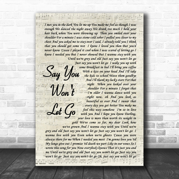 James Arthur Say You Won't Let Go Vintage Script Song Lyric Music Wall Art Print