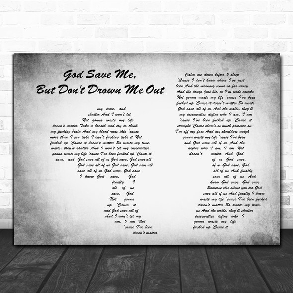 YUNGBLUD God Save Me, But Don't Drown Me Out Man Lady Couple Grey Gift Song Lyric Print