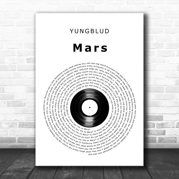 YUNGBLUD Mars Vinyl Record Decorative Wall Art Gift Song Lyric Print