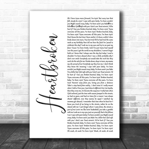 Yungeen Ace Heartbroken White Script Decorative Wall Art Gift Song Lyric Print