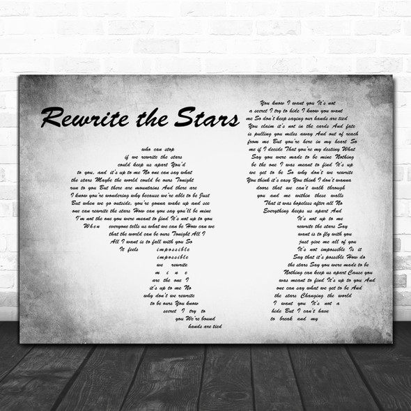 Zac Efron, Zendaya - GREATEST SHOWMAN Rewrite the Stars Man Lady Couple Grey Wall Art Song Lyric Print