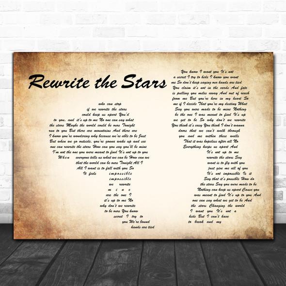 Zac Efron, Zendaya - GREATEST SHOWMAN Rewrite the Stars Man Lady Couple Wall Art Song Lyric Print