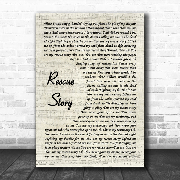 Zach Williams Rescue Story Vintage Script Decorative Wall Art Gift Song Lyric Print