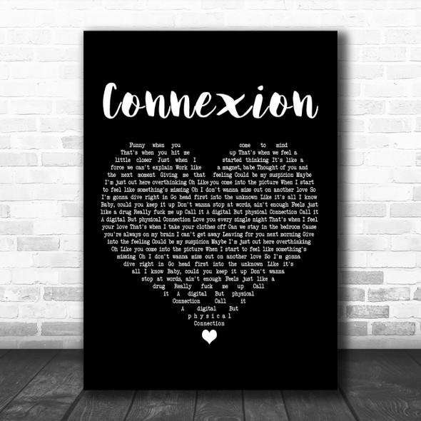 ZAYN Connexion Black Heart Decorative Wall Art Gift Song Lyric Print