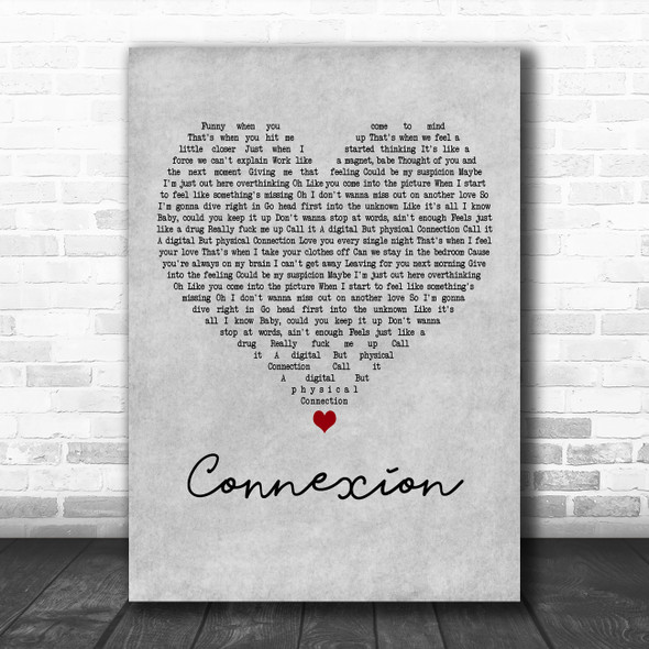 ZAYN Connexion Grey Heart Decorative Wall Art Gift Song Lyric Print
