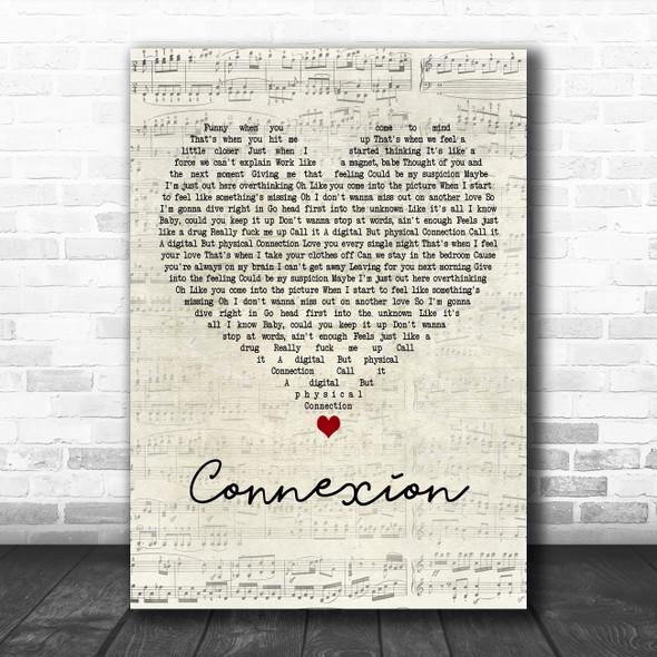 ZAYN Connexion Script Heart Decorative Wall Art Gift Song Lyric Print