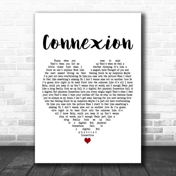 ZAYN Connexion White Heart Decorative Wall Art Gift Song Lyric Print