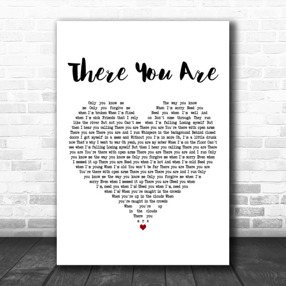 ZAYN There You Are White Heart Decorative Wall Art Gift Song Lyric Print