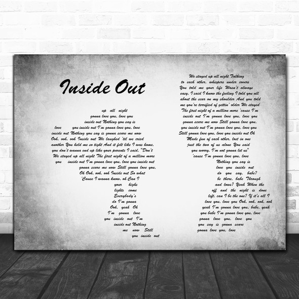Zedd and Griff Inside Out Man Lady Couple Grey Decorative Wall Art Gift Song Lyric Print