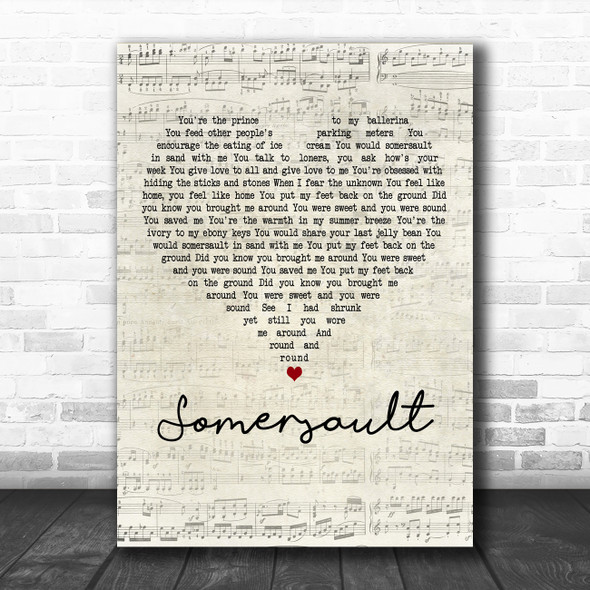 Zero 7 Somersault Script Heart Decorative Wall Art Gift Song Lyric Print