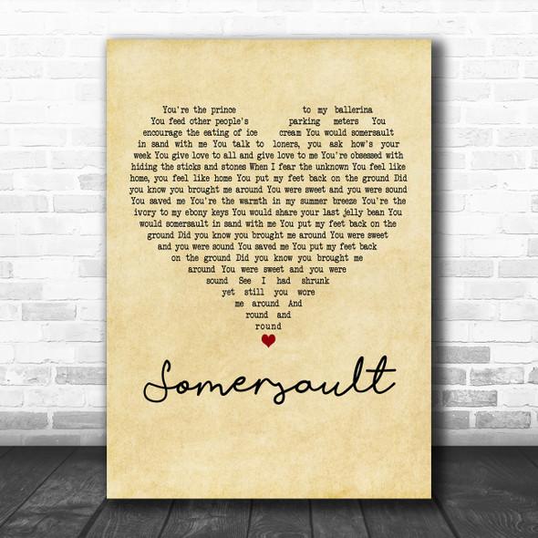 Zero 7 Somersault Vintage Heart Decorative Wall Art Gift Song Lyric Print