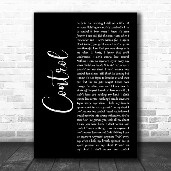 Zoe Wees Control Black Script Decorative Wall Art Gift Song Lyric Print