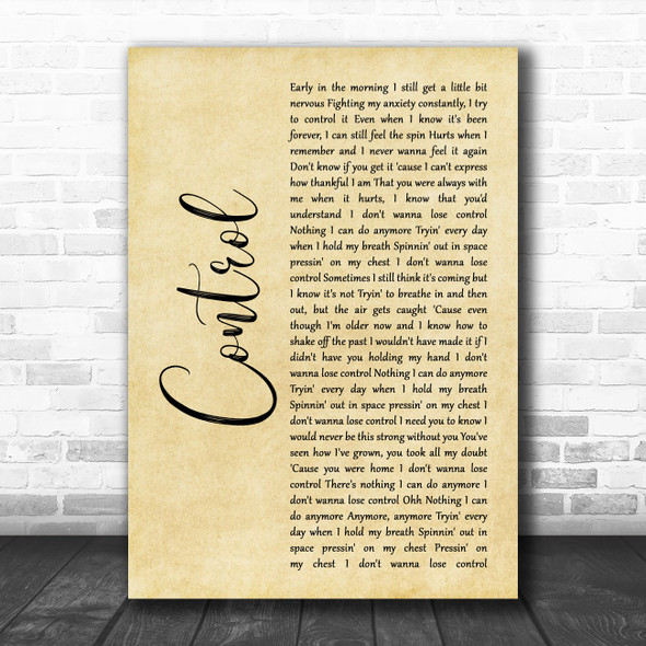 Zoe Wees Control Rustic Script Decorative Wall Art Gift Song Lyric Print