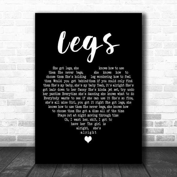 ZZ Top Legs Black Heart Decorative Wall Art Gift Song Lyric Print