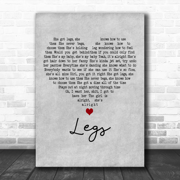 ZZ Top Legs Grey Heart Decorative Wall Art Gift Song Lyric Print