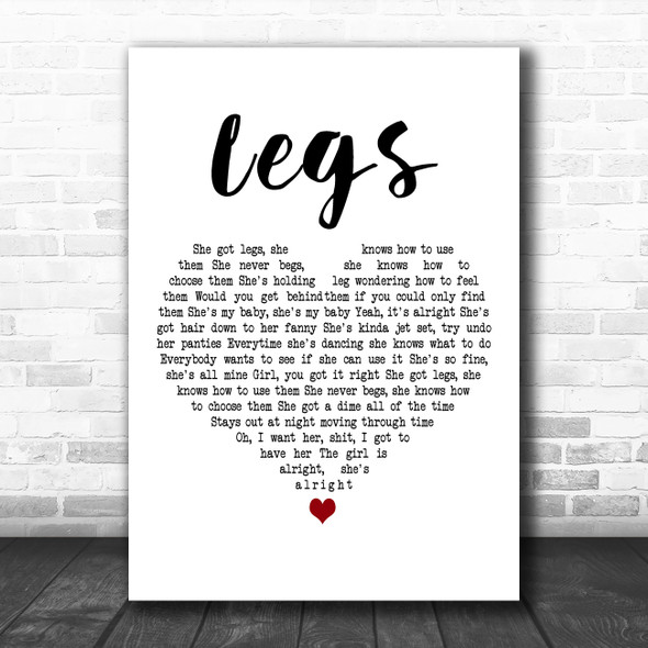 ZZ Top Legs White Heart Decorative Wall Art Gift Song Lyric Print