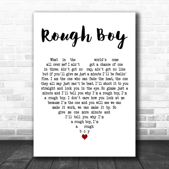 ZZ Top Rough Boy White Heart Decorative Wall Art Gift Song Lyric Print